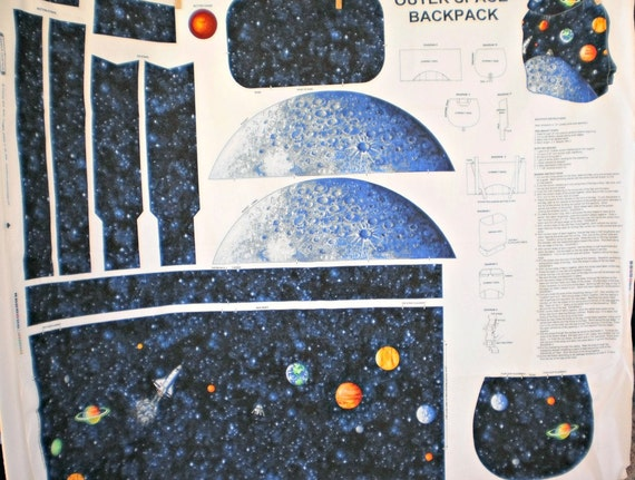 Back to school outer space planetary back pack fabric for Space fabric panel