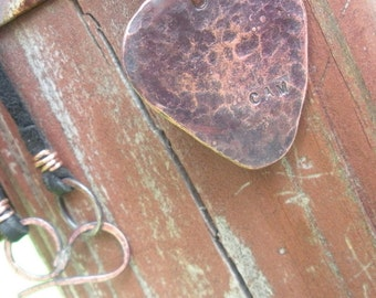 Copper Necklace Stamped Personalized Guitar Pick Necklace Item #300101