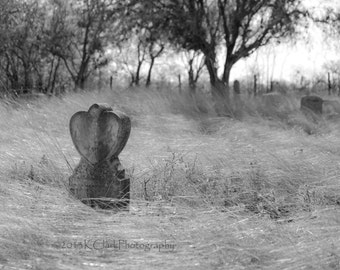 Swept Away Black and white Fine Art Photography cemetery photography prairie grasses sad and lonely headstone heart solitary place