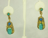 Vintage1950s Egyptian Revival Scarab Clipback Earrings