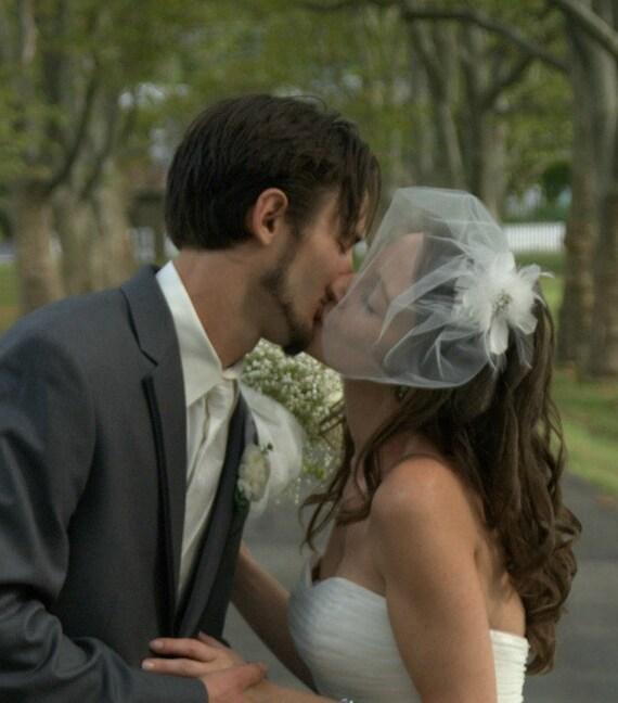 wedding veil - Mini tulle Blusher Illusion veil