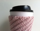 Crochet Coffee Cup Sleeve - Heather Pink Eco Friendly Reusable Pink Coffee Cup Cozy Gift Under 10 Gift For Coffee Lovers Hot Chocolate Cozy