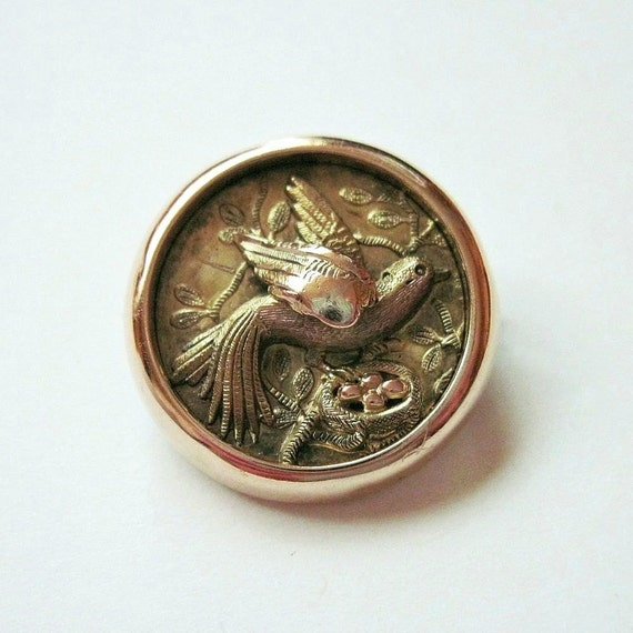 Small Victorian Bird Brooch - Eggs - Nest - Animal - 12KT - Pink Yellow Gold - Antique - C1890