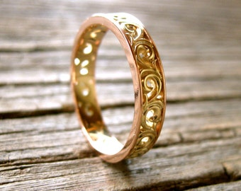 Scroll Wedding Ring in Two Colors with 14K Yellow Gold and 14K Rose Gold Size 7