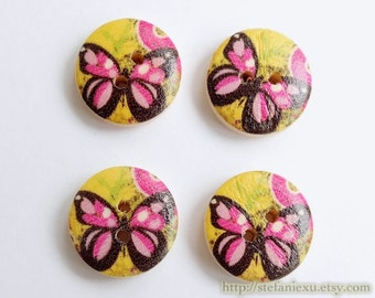 Wooden Buttons, Painted Color - Lovely Small Pink Butterfly On Bright Yellow (4 in a set)