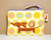 Wiener Dog Coin Purse Pouch - Doxie and Owl in the Daisy Dot Garden - Dachshund Gift- Yellow White
