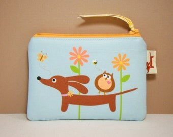 Doxie Dachshund Coin Purse - Doxie and Owl in the Blue Sky Daisy Garden
