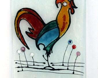 Colorful Rooster Fused glass Coat Hook/Wall Hook/ Towel Hook/Bath Hook/ Key Hook
