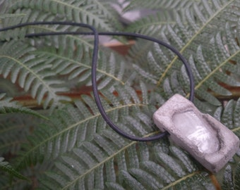 Concrete Jewelry  - Natural gray  recycled clear rippled glass aggregate urban fossils