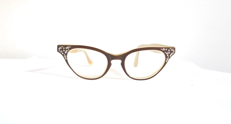 Cat Eye Rhinestone Eyeglass Frames : VIntage Rhinestone Cat Eye Frames EyeGlasses or Sunglasses/