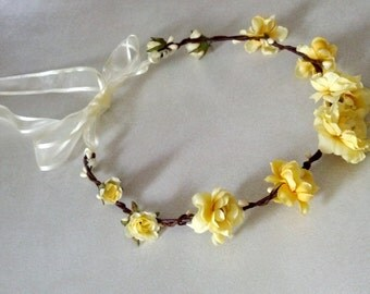Woodland Bridal flower Crown hair wreath Butter yellow silk roses handmade bridal headpiece Hair flowergirl halo outdoor wedding accessories