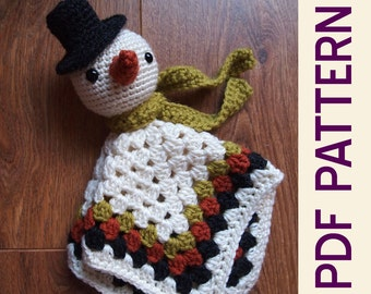 Amigurumi Winter Snowman Security Blanket Lovey PDF Crochet Pattern