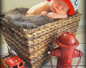 Infant Crocheted Fireman's Hat