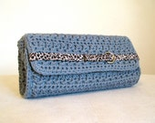 Clearance, Steel blue and leopard clutch, crocheted fully lined