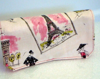 Coupon Organizer /Budget Organizer Holder  / Attaches To You Shopping Cart - Day in Paris Decor  Fabric