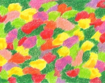 Spring Bouquet, digital print, abstract, bouquet, spring, flowers, flower, yellow, red, purple, green, 7 Card Draw
