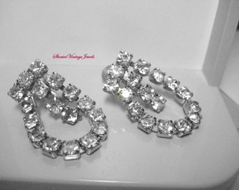 Vintage Articulated Rhinestone  Dangle Earrings Shimmer and Sparkle  Beauties