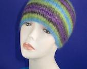 Instant Digital File pdf download knitting patten - Angel Prints Mohair Rib Skullcap Hat pdf knitting pattern