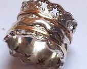 vintage ring, meditation ring , romantic spinning ring , silver gold ring , Israeli rings , spinner rings