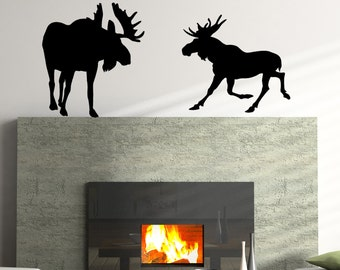 Moose Pair Vinyl Wall Decal