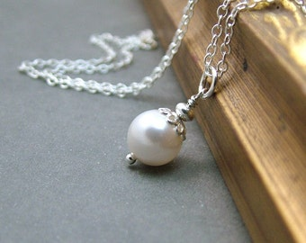 Single Pearl Necklace, Sterling Silver, Bridesmaid Gift, Bridal Jewelry, Wedding, White Pearl