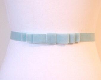 Cloud Blue Velvet Bow Belt -