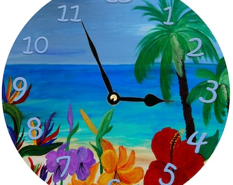 Tropical Beach  wall clock  from my original painting