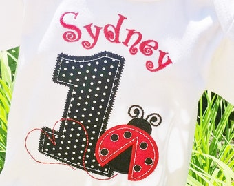 Girls Appliqued Ladybug with Birthday Age