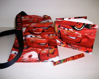 Disney Cars autograph book bag with book, bag and pen and autograph book PERSONALIZED for FREE Adjustable strap
