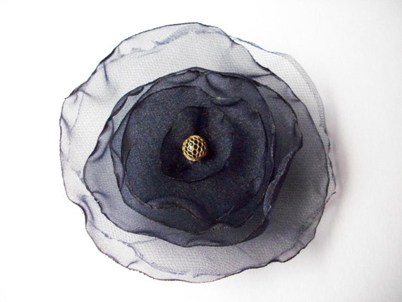 Navy blue organza fabric flower pin, navy flower brooch with vintage bead center and netting