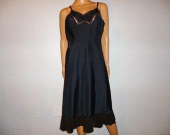 "Vintage 40's - Nylon-Orlon - Black - Embellished - Embroidered - Lace - Slip - Dress by Barbizon - 39""/40"" bust"