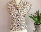1950s womens mid century print shirt from original pattern ALL sizes in ORANGE leaves print