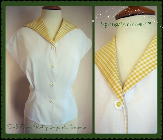 1950s womens white shirt with yellow gingham collar from original pattern ALL SIZES