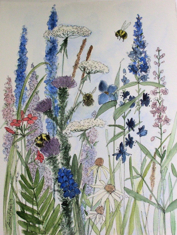 Garden Nature Art Watercolor Painting Botanical Wildflowers by Laurie Rohner.