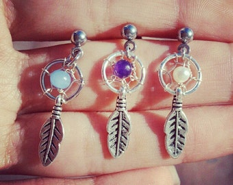 Dream Catcher Tragus Piercing- Feather Charm Dangle Bar Barbell Amethyst Opal Blue Pearl 16g 16 G Gauge Post Stud Earring Ear Jewelry