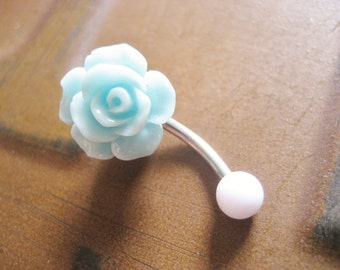 Mint Green Turquoise Rose Belly Button Ring- Pastel Minty Light Seafoam Flower Navel Stud Jewelry Bar Barbell Piercing