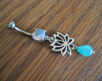 Lotus Belly Button Ring Jewelry Opal Turquoise Flower Rose Navel Piercing Bar Barbell