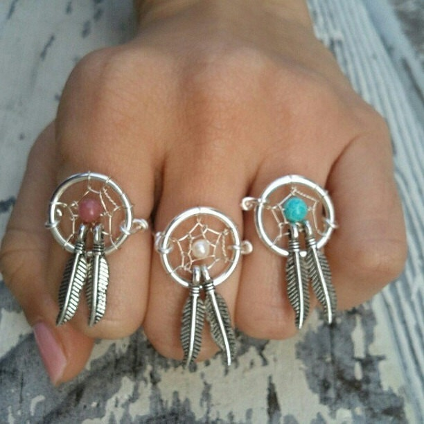 dream catcher two feather finger ring double feather charm