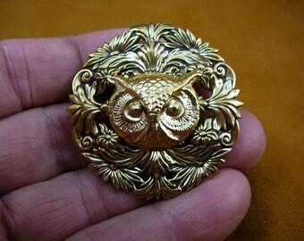 small Owl head night bird on textured round floral brass pin pendant  I love owls lover birds B-Bird-519