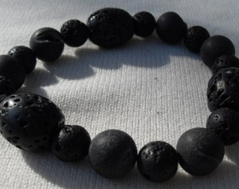 Lava Rock Stretch Bracelet Large Size Guys or Gals Some Beads with Geodes Custom