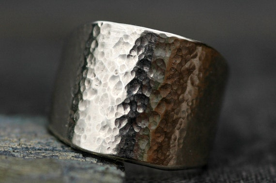 Wide Hammered Recycled 14k White Gold Band