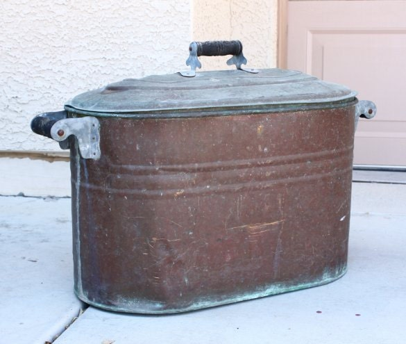 Antique Copper Boiler Wash Tub Bucket With Lid Vintage