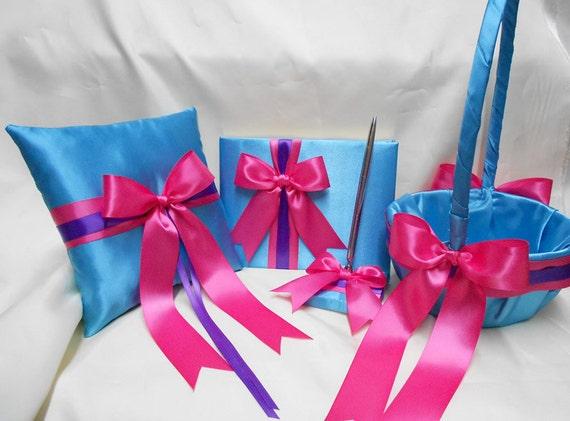 Turquoise Fuchsia Wedding: Wedding Accessories Turquoise Hot Pink Purple Flower Girl