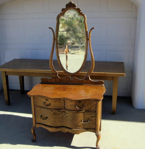 Antique Oak Three Drawer Dresser With Beveled Mirror By Midmod