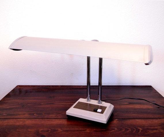 Vintage Fluorescent Bulb Desk Lamp Retro Dual Gooseneck