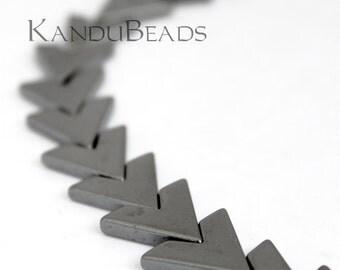 "Black Hematite V Beads 17x15mm 15"""