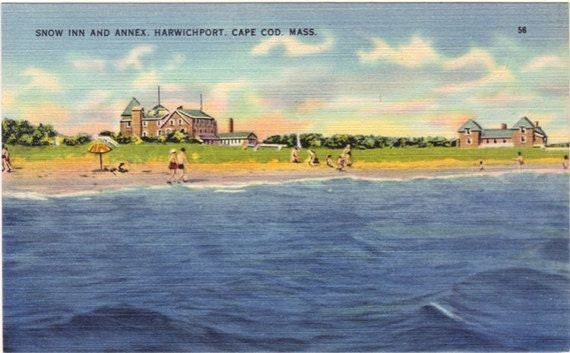 Vintage Cape Cod Postcard - Snow Inn and Beach, Harwich Port (Unused)