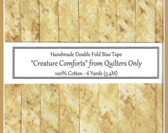 """Handmade Double Fold Bias Tape - """" Creature Comforts"""" in Golden Toffy Brown"""
