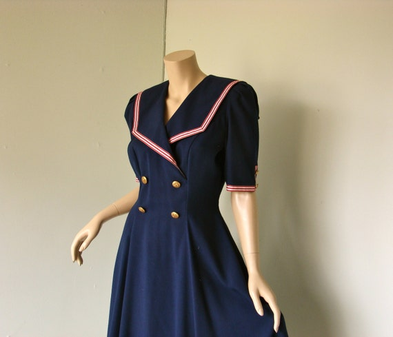 90 S Sailor Swing Dress 1990 S Pin Up Inspired Navy