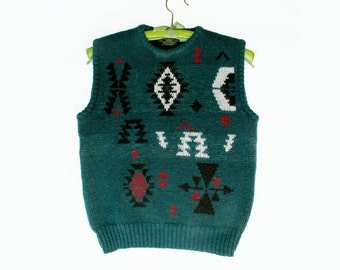 80s Vintage Wool Sweater Vest, Tribal Geometric Green Wool size S to M made in England